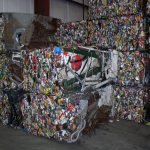 Aluminum cans are baled during the recycling process