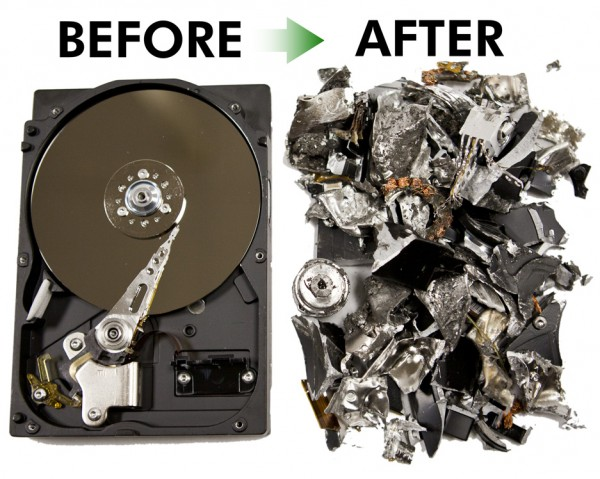 Destruction of hard drives for scrap metal