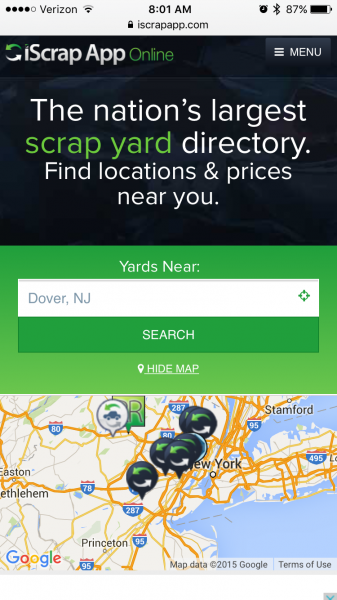 report scrap prices on your phone