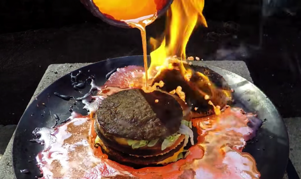 melted copper poured on hamburger