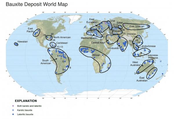 Bauxite World Map